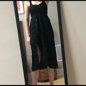 Rachel comey black rayon dress buttons side slit 8